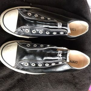 Converse women's black patent leather slip ons